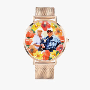 Vacay Couple w Tropical flowers. Fashion Ultra-thin Stainless Steel Quartz Watch (With Indicators) - ARTSY STYLE