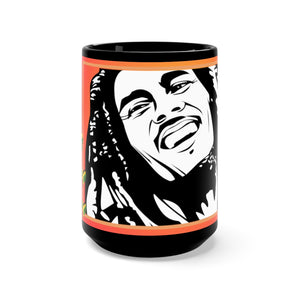 Bob M. One Love w/ Flag Hearts - Black Mug 15oz (Lg) - ARTSY STYLE