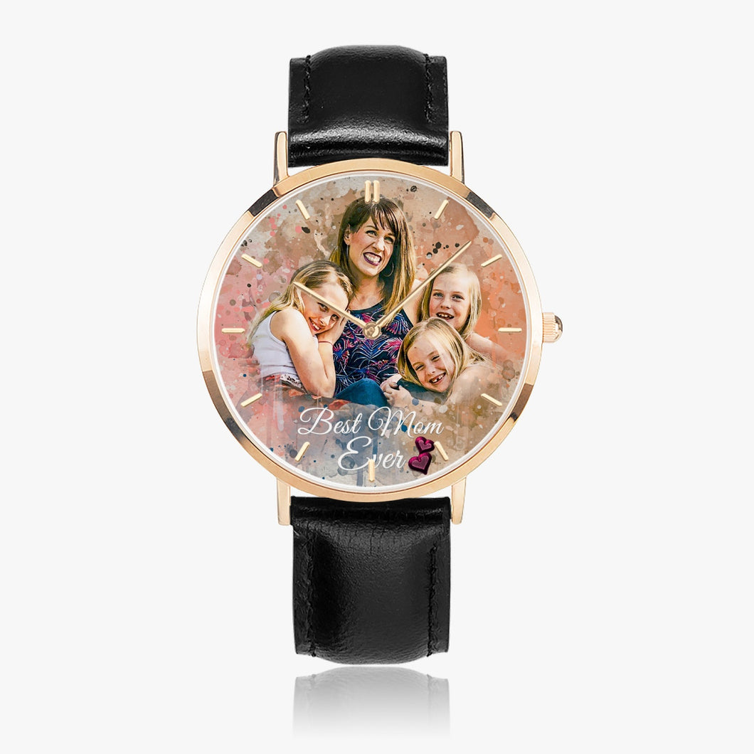 164. Sample Best Mom Hot Selling Ultra-Thin Leather Strap Quartz Watch (Rose Gold With Indicators) - ARTSY STYLE