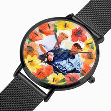 Load image into Gallery viewer, Vacay Couple w Tropical flowers. Fashion Ultra-thin Stainless Steel Quartz Watch (With Indicators) - ARTSY STYLE