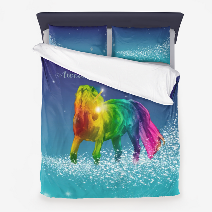Magical Rainbow Pony Unicorn Duvet Cover - ARTSY STYLE