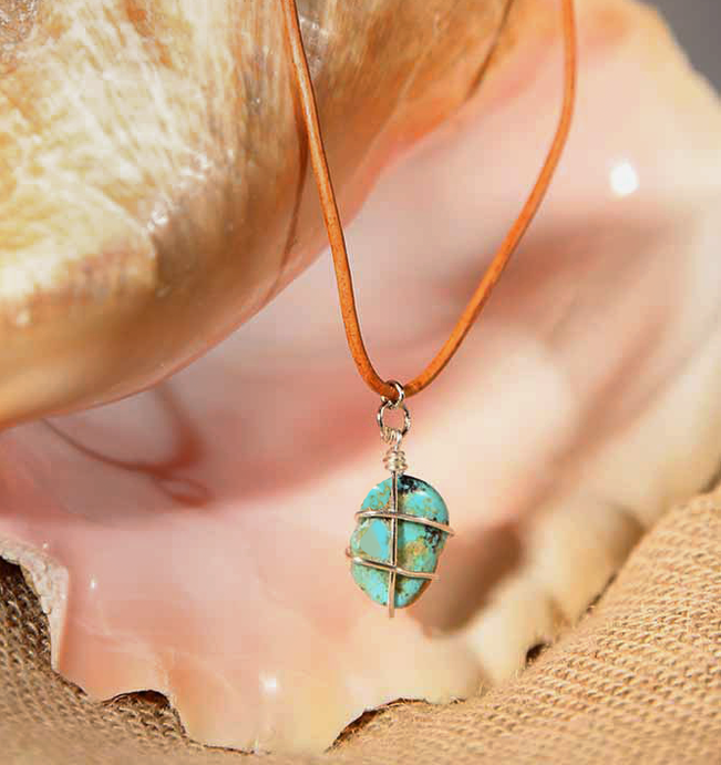 Natural Stone on Leather Cord Necklace - turquoise, by CeeV - ARTSY STYLE