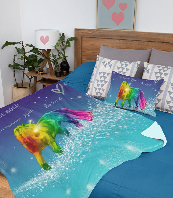 Magical Rainbow Unicorn Velveteen Plush Blanket - ARTSY STYLE