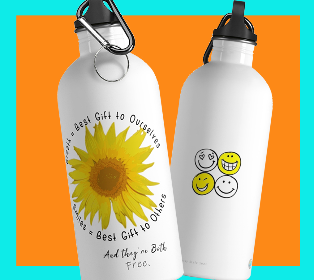 Uplifting Sunflower & Smiles Stainless Steel Water Bottle - ARTSY STYLE