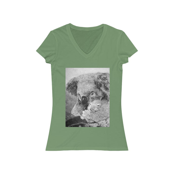 Fine Art Mother and Joey Koala Painting - Women's Jersey Short Sleeve V-Neck Tee - ARTSY STYLE