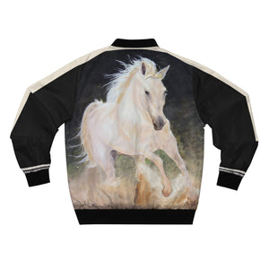 Horse-Lover's Unisex Bomber Jacket - White Stallion. Great gift item! - ARTSY STYLE