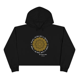 Crop Hoodie - Breath & Smiles Uplifting Reminder - ARTSY STYLE