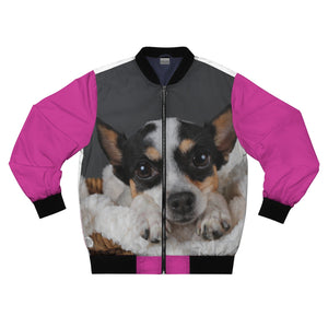 Adorable Doggies on Pink Background Bomber Jacket - ARTSY STYLE
