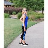 Blue Chevron Yoga Capris - Devon Maryn