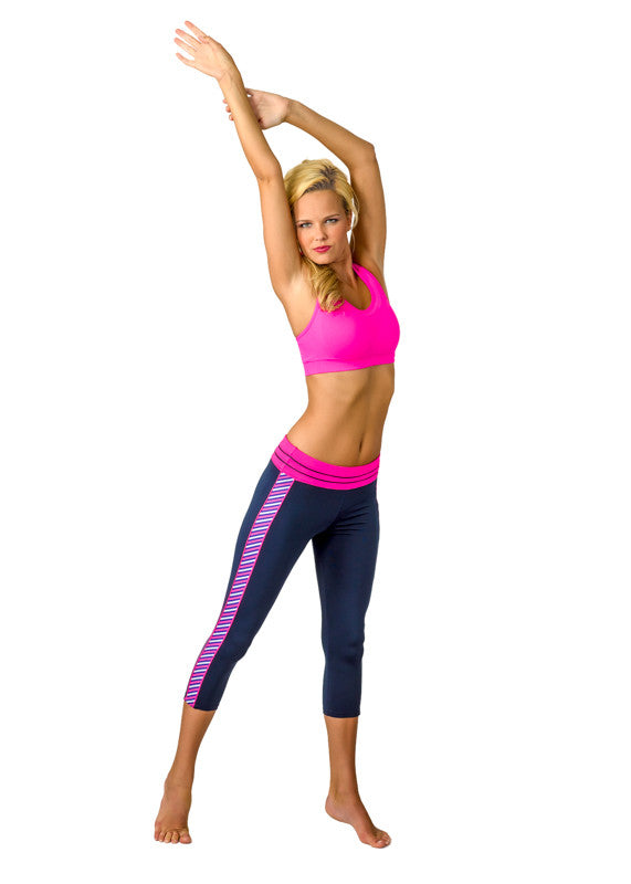 """Stripe Down"" Yoga Capris - Devon Maryn"