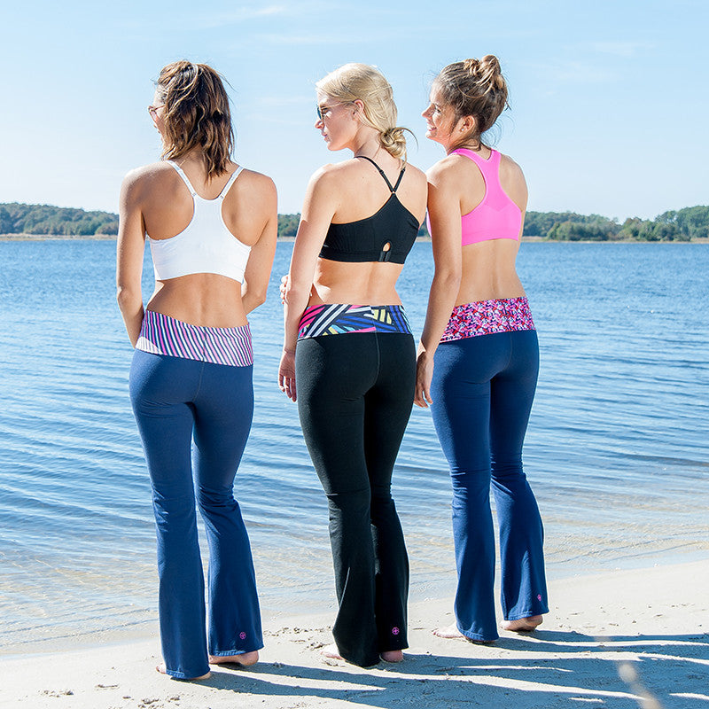 """Stripe Down"" Roll Waist Yoga Pants - Devon Maryn"