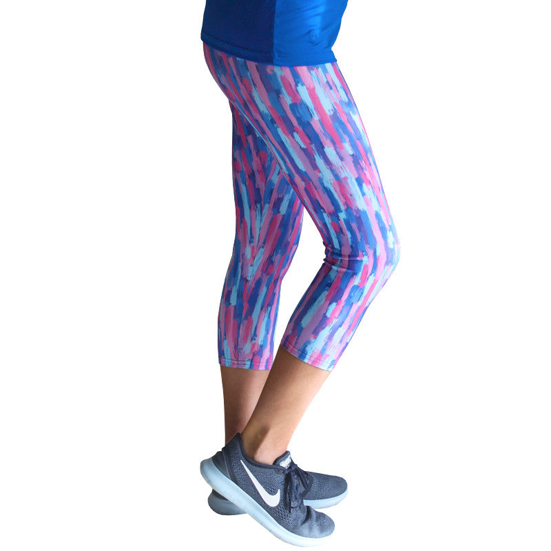 Blue Brushstroke Yoga Leggings - Devon Maryn