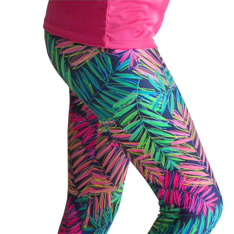 """Palm Paradise"" Yoga Leggings - Devon Maryn"
