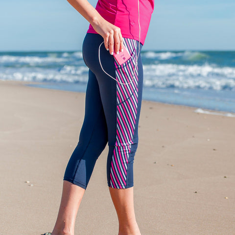 Blue Chevron Yoga Capris