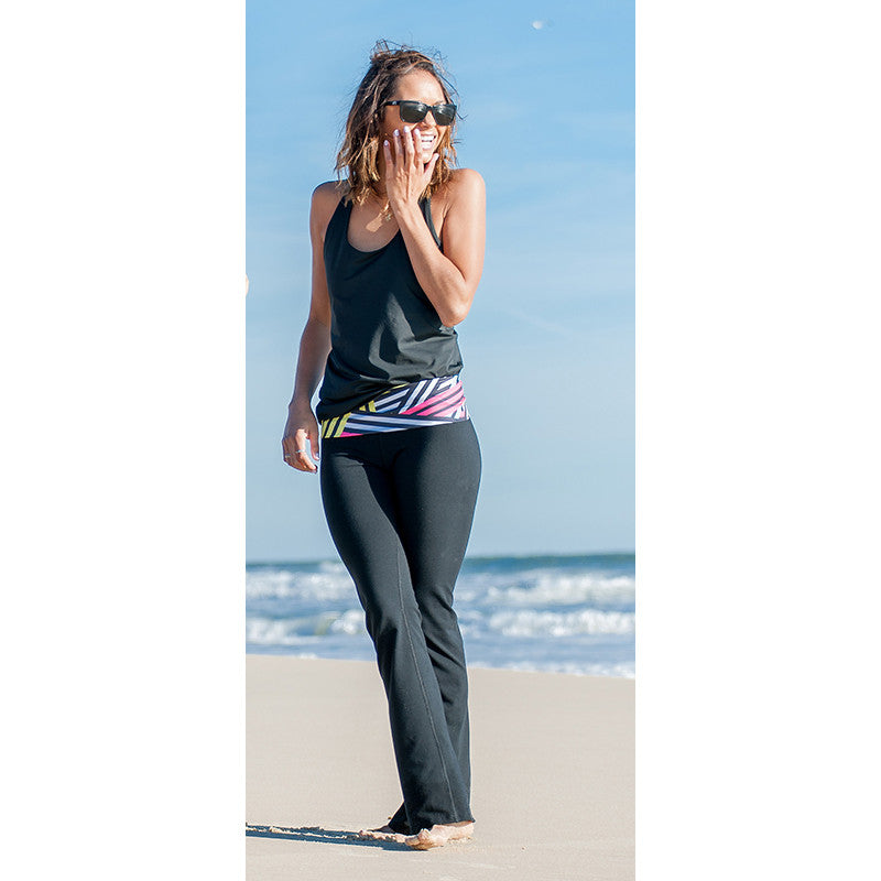 """Cross the Line"" Roll Waist Yoga Pants - Devon Maryn"