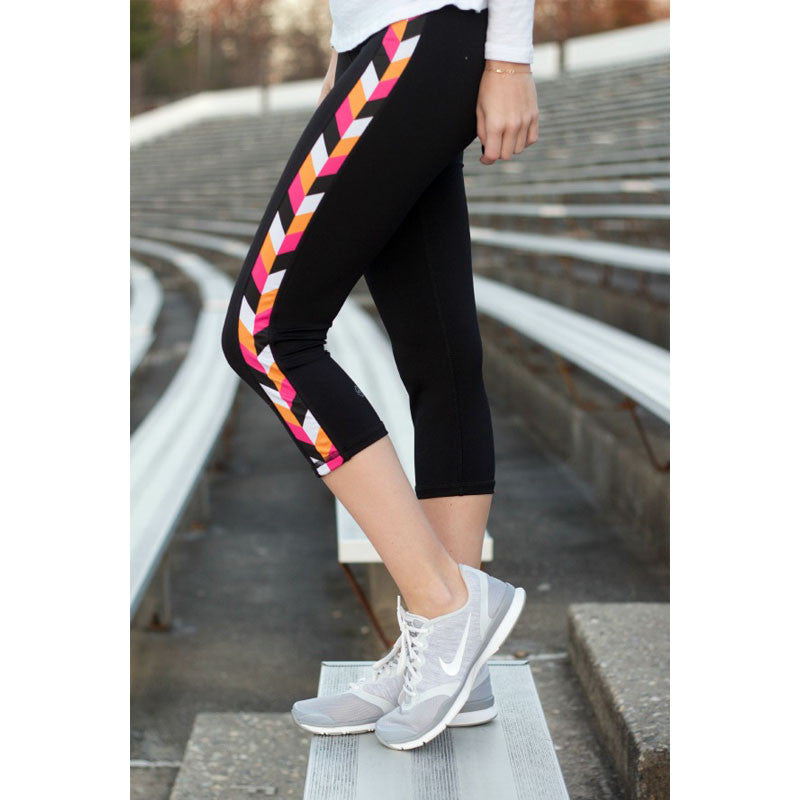 Pink Chevron Yoga Capris - Devon Maryn