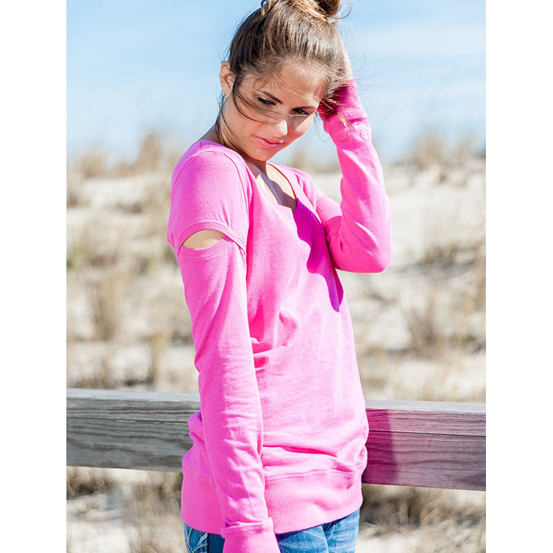 """Peek-a-Boo"" Cutout Sweatshirt - Devon Maryn"