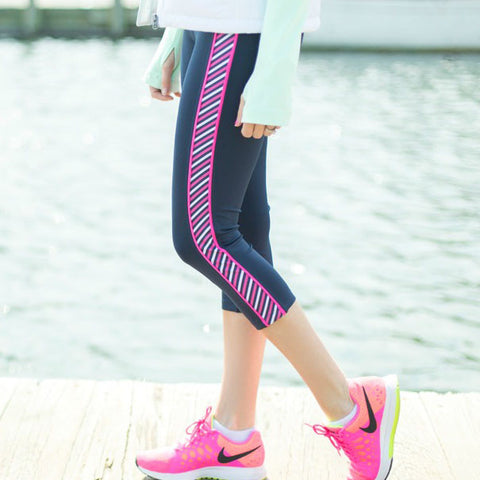 """Stripe Down"" Roll Waist Yoga Pants"