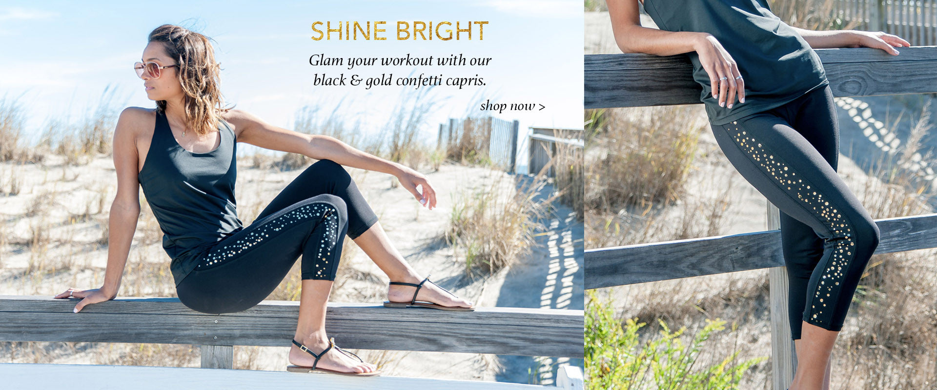 Devon Maryn gold Confetti yoga capris