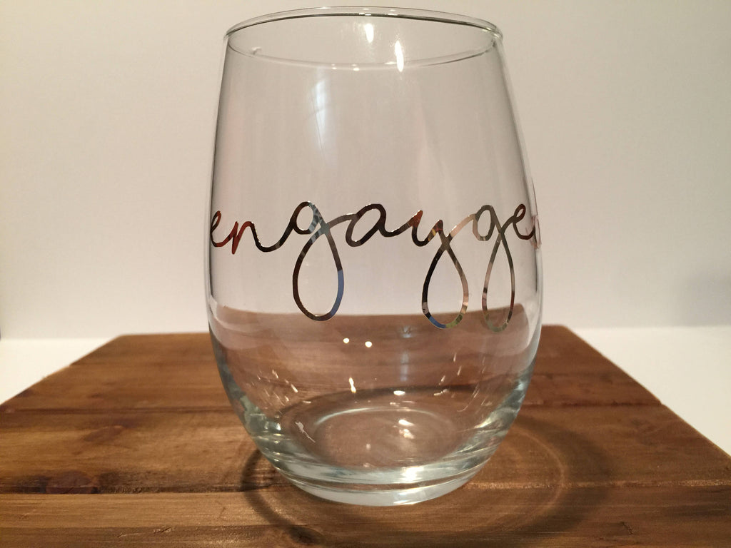 """enGAYged"" Engagement Glass, Personalized Gift For LGBT+ Friends and Family"