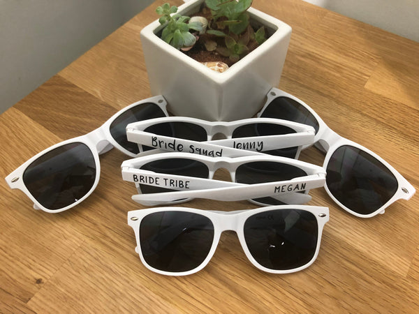 Personalized White  Wedding Sunglasses, White Custom Bride Party Frames,  Bridal Shower Lenses, Maid of Honor Gift