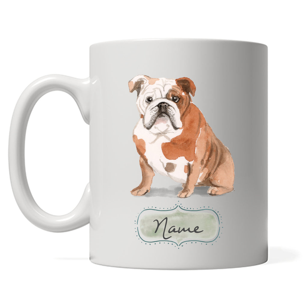 English Bulldog Design Mug with DOGS Name, Personalized Gift For Bulldog Owner