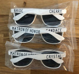 Personalized White Wedding Sunglasses, Outdoor Wedding, Summer Wedding Glasses, Bride Tribe Frames