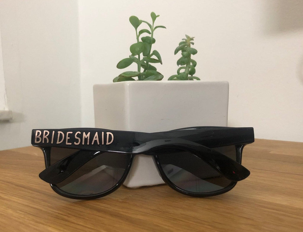 Personalized Black Rose Gold Wedding Sun Glasses, Groomsmen Bridal Party, Bachelorette Bridal Gifts, Best Man Favors, Groom, Gift for Him