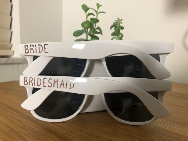 Personalized White Rose Gold Wedding Sun Glasses , Bridesmaid Gift, Personalized Matron of Honor Gift Ideas, Bride Tribe SunGlasses,