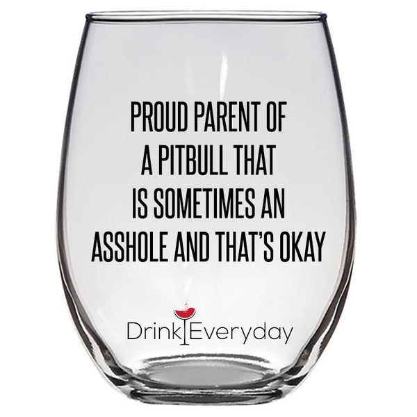 Pitbull Wine Glass, Pitbull Stemless Wine Glass, Pitbull Mom, Pitbull Dad, Custom Pitbull Gift, Pitbull Gift
