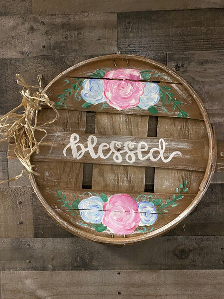 DIY Rustic Peach Basket Lid Door Hanger-$10