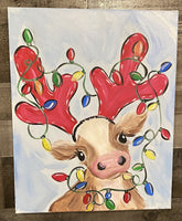 Christmas Cow Canvas