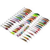 56pcs Carbon Steel Mixed Soft Fishing Lures