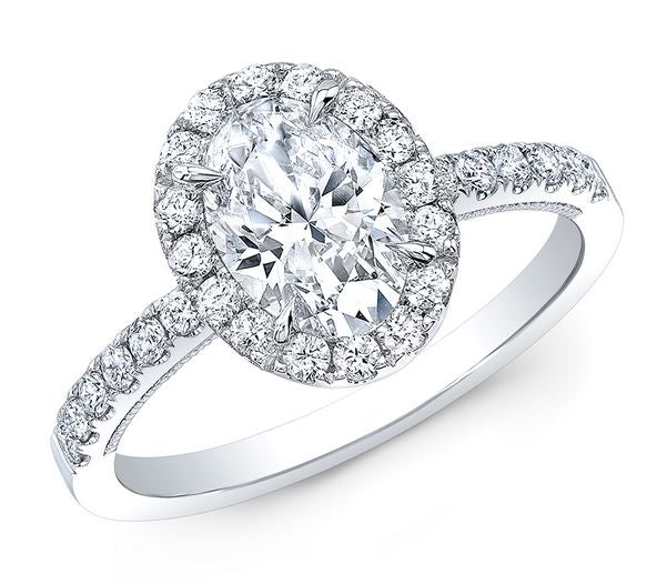 1 CT Oval Diamond Halo Engagement Ring