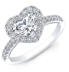 1/2 CT Heart Shaped Diamond Engagement Ring with Halo