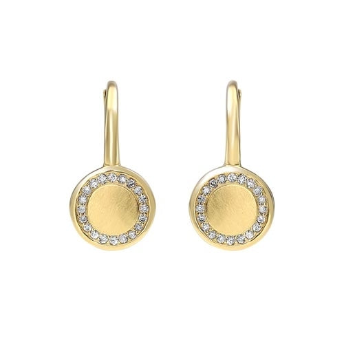 10C-Diamond Eternity Halo Dangle Earrings in Gold (1/8ctw)