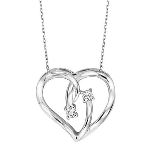 11H-Diamond 2-Stone Open Ribbon Heart Pendant Necklace in Sterling Silver