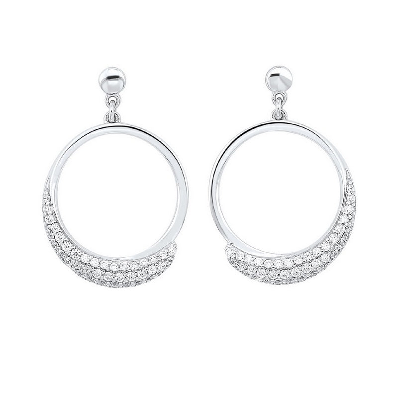 15A-Pave Eternity Circle Hoop CZ Stud Earrings in Sterling Silver