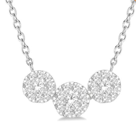 1/2 Ctw Triple Circle Lovebright Diamond Necklace in 14K White Gold