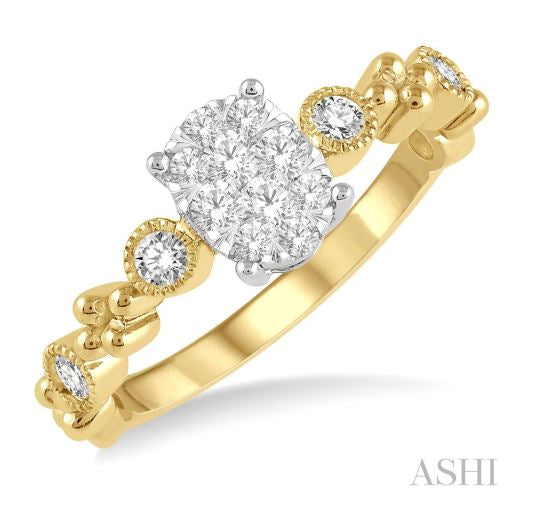 1/3 ct Oval Shape Accentuated Shank Lovebright Diamond Cluster Ring in 14K Yellow and White Gold