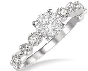 3/8 ct Round Shape Accentuated Shank Lovebright Diamond Cluster Ring in 14K White Gold
