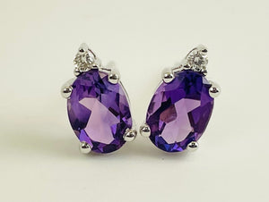 14K White Gold Amethyst and Diamond Studs