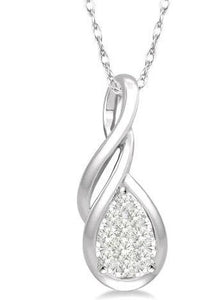 1/8 Ctw Pear Shape Lovebright Entwined Wire Diamond Pendant With Link Chain in 14K White Gold