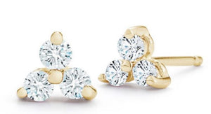 14K Yellow Gold Trio Diamond Studs