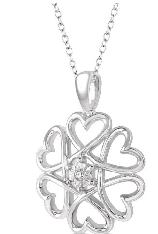 1/50 ctw Infinity Heart Charm Round Cut Diamond Pendant With Chain in Sterling Silver