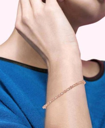 1/3 ctw Baguette & Round Cut Diamond Stackable Bangle in 14K Rose Gold
