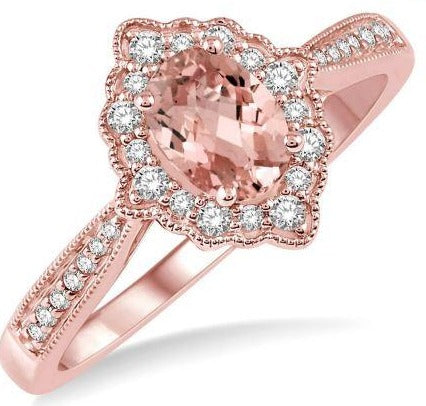 1/5 Ctw Oval Shape 6x4mm Morganite & Round Cut Diamond Semi Precious Ring in 10K Rose Gold