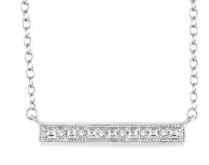 1/20 Ctw Round Cut Diamond Stick Pendant in Sterling Silver with Chain
