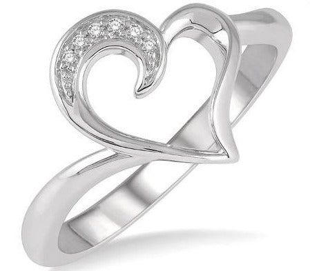 1/50 ctw Hollow Center Heart Charm Round Cut Diamond Ring in Sterling Silver