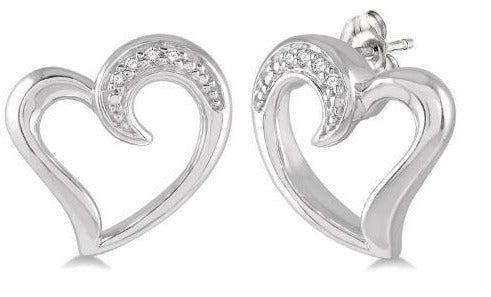 1/50 ctw Hollow Center Heart Charm Round Cut Diamond Earring in Sterling Silver